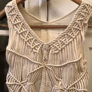 GREYLIN Sleeveless TOP with fringes n woven deco S